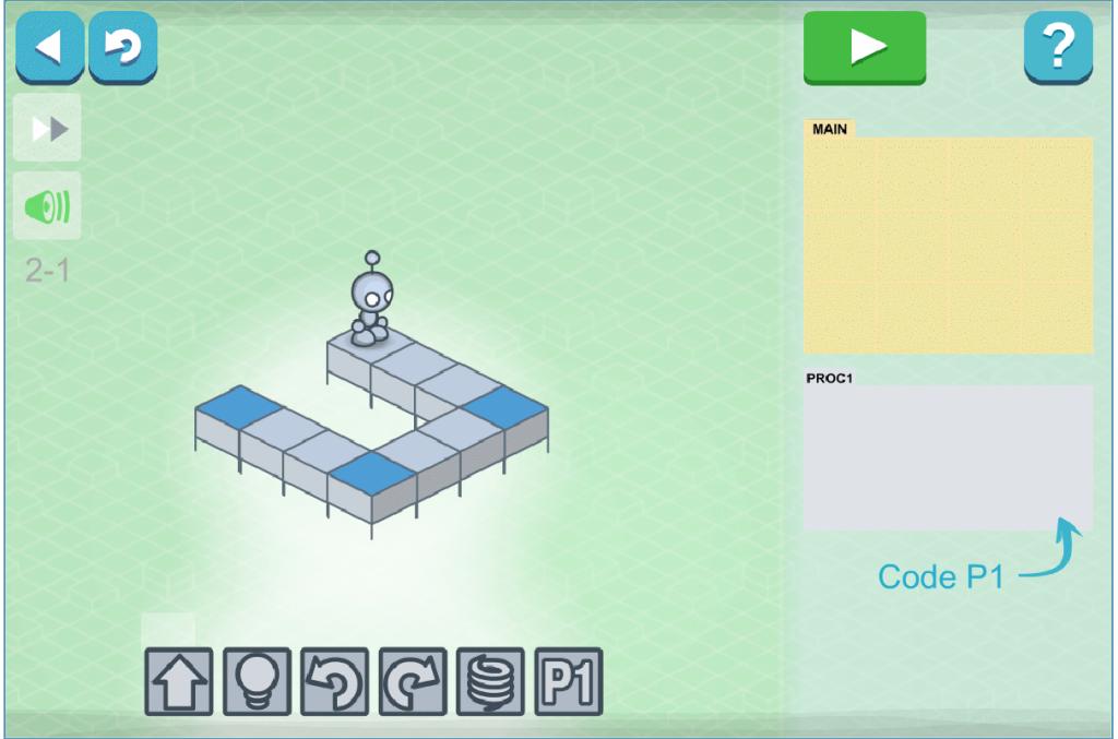 Lightbot tehtävä: Kirjoita ohjelma, jonka avulla hahmo voi käydä sytyttämässä valon sinisellä merkittyihin ruutuihin. Ohjelma koostuu main-osasta sekä sieltä kutsuttavasta proc1-funktiosta.